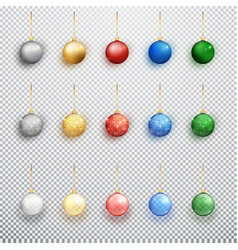 colorful christmas balls set isolated on a vector image