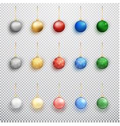 colorful christmas balls set isolated vector image