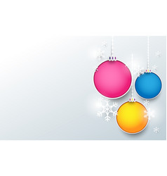 colorful christmas balls with snowflake background vector image