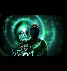 computer hacker with a hood touches touch vector image