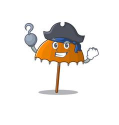 Cool orange umbrella in one hand pirate cartoon vector