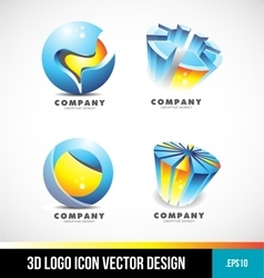 Corporate business sphere pie chart 3d logo vector