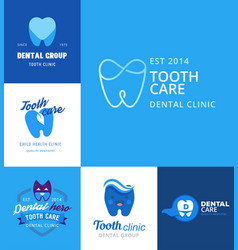 dental logo protection template vector image