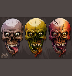 detailed graphic colorful human skulls set vector image