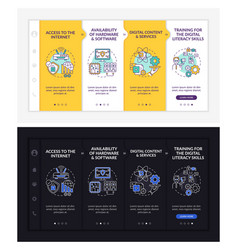 Digital inclusion components onboarding template vector