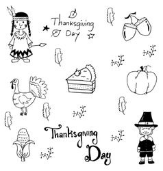 Doodle Thanksgiving element set vector