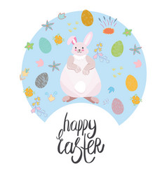 easter bunny with hand lettering vector image