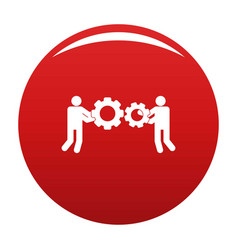 employee with gear icon red vector image