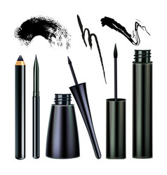 Eyeliner and paint stroke visage tool set vector