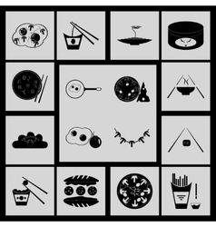 Flat in black and white concept Eastern fast food vector