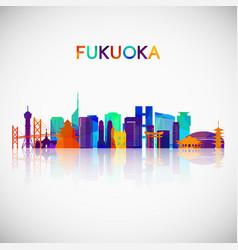 Fukuoka skyline silhouette in colorful geometric vector