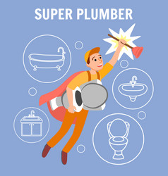 funny cartoon superhero repairman in uniform cape vector image