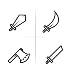 Game RPG and MMORPG weapon icons vector