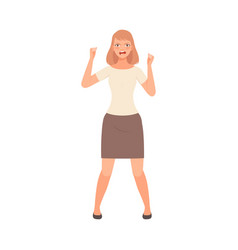 Girl expresses anger and waves her fists vector
