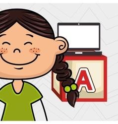 Girl laptop cube icon vector