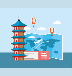 Global map travel and chinese tower with ticket vector