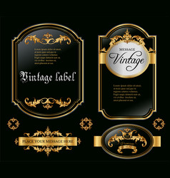 Gold framed black labels vector image