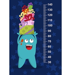 Happy blue monster with gifts on background with vector image
