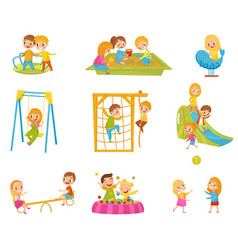 happy kids playing outdoors set children on a vector image
