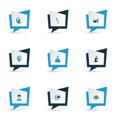 Holiday icons colored set with prayer mullah vector