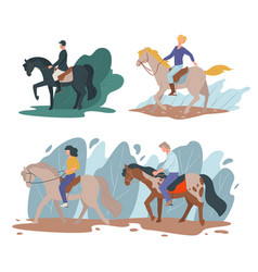 horse riding sports equine hobpeople vector image