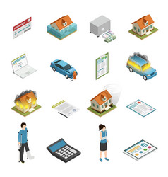 Insurance policy isometric icons set vector