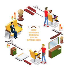isometric barber shop round concept vector image