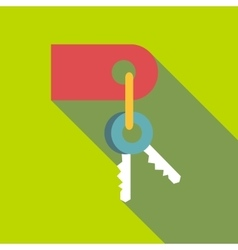 Keys with red tag icon flat style vector