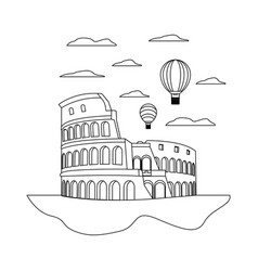 Line coliseum rome and funny air balloons vector