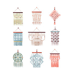 macrame hangings set elegant handmade home vector image