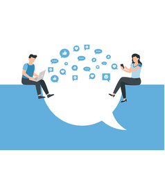 man and woman using smartphone and laptop vector image