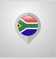map navigation pointer with south africa flag vector image