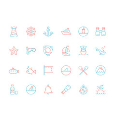 marine icon collection nautical sea or ocean vector image