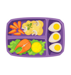 Meal tray filled with salmon fish egg and vector