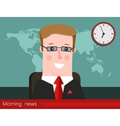 Morning news Silhouette of a man with glasses vector