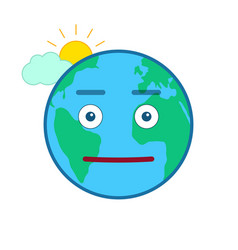 Neutral world globe isolated emoticon vector