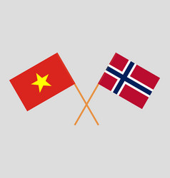 Norway and vietnam flags vector
