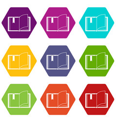 open book icon set color hexahedron vector image