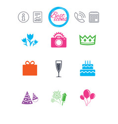 Party celebration birthday icons fireworks vector