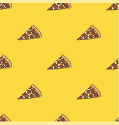 pepperoni pizza slices seamless pattern vector image