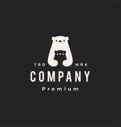 polar bear mom son parent hipster vintage logo vector image