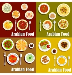 Popular wholesome dishes of arabian cuisine icons vector