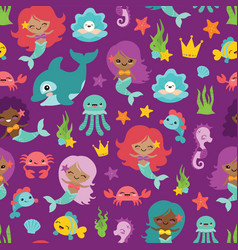purple people of color mermaids and friends vector image