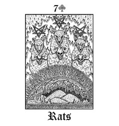 rats tarot card from lenormand gothic mysteries vector image