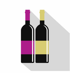 red and white wine bottles icon flat style vector image vector image