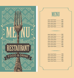 restaurant menu template with price list and fork vector image