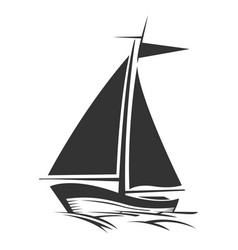 sailing boat logo silhouette vector image