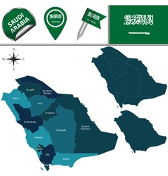 Saudi Arabia map with named divisions vector