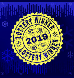 scratched lottery winner stamp seal on winter vector image