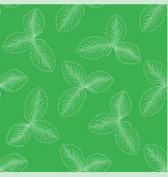 seamless pattern with strawberry leaves vector image